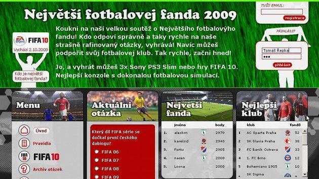 Homepage stránky soutěže o nejlepšího fotbalového fandu 2009.