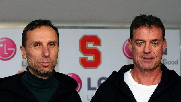 Nová trenérská dvojice hokejové Sparty, zleva hlavní trenér týmu Miloslav Hořava a jeho asistent Radim Rulík.