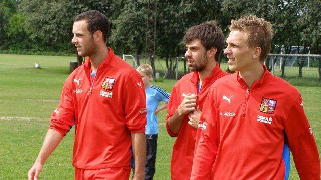 Jan Lecjaks (vlevo) ještě jako hráč reprezentace do 21 let spolu s Janem Morávkem (uprostřed) a Bořkem Dočkalem.