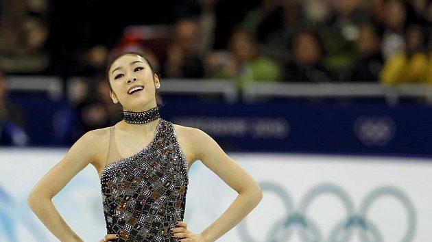 Korejská krasobruslařka Kim Ju-na po krátkém programu na olympijských hrách.