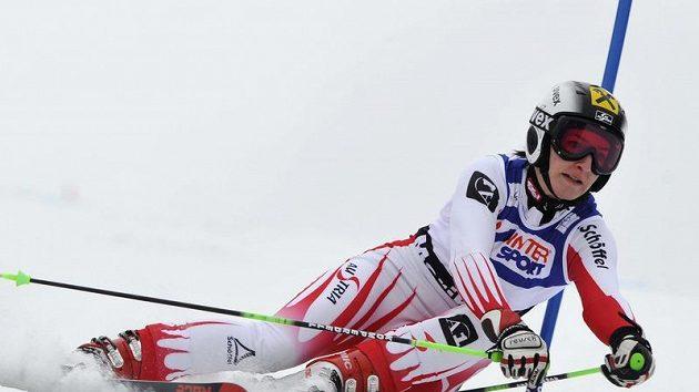 Rakouská lyžařka Karthrin Zettelová na stavu v Mariboru