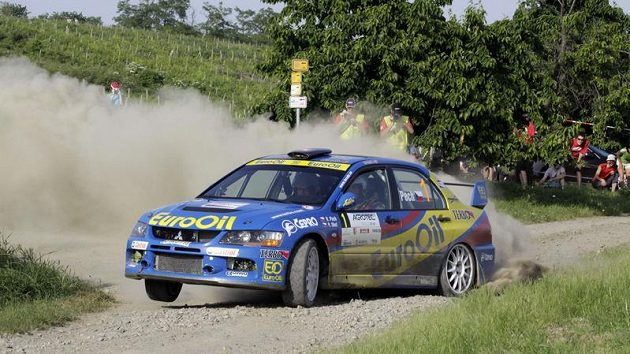 Václav Pech junior a Petr Uhel během Hustopečské rallye