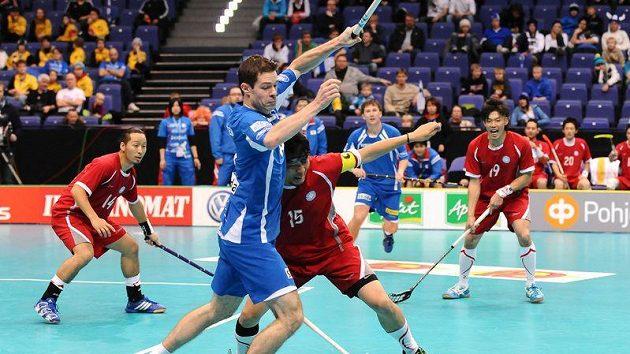 Florbalista Martin Richter v utkání proti Japonsku