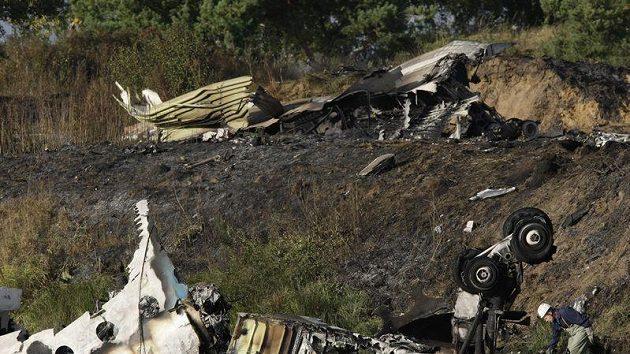 Trosky letadla, ve kterém zahynuli hokejisté Jaroslavle