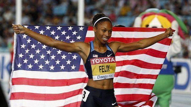 Americká běžkyně Allyson Felixová na mistrovství světa v Tegu
