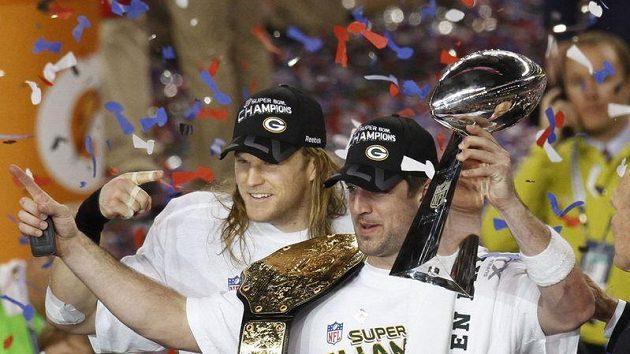 Hráči Green Bay Packers oslavují titul.