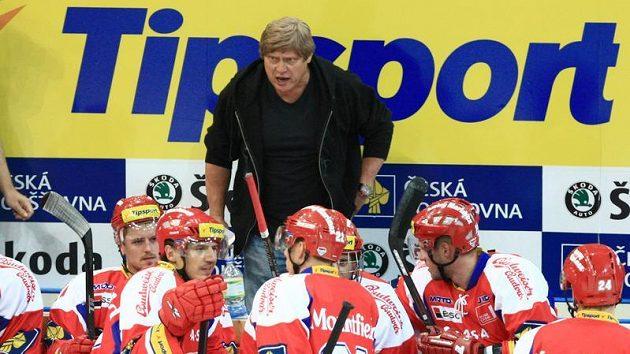 Trenér František Výborný na lavičce hokejistů Českých Budějovic