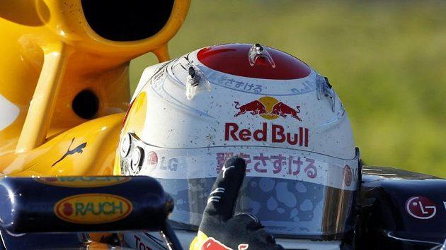 Sebastian Vettel se raduje z vítězství v GP Japonska.