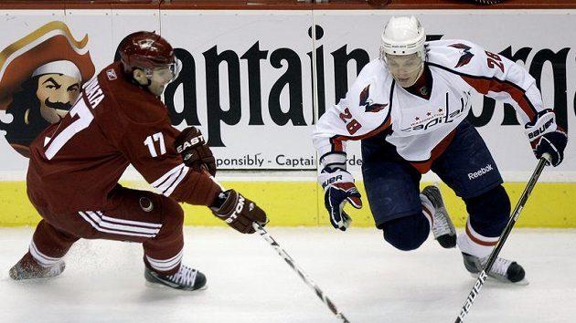 Křídlo Washingtonu Capitals Alexander Sjomin se snaží obejít Radima Vrbatu (vpravo) z Phoenixu Coyotes.