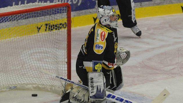 Brankář Litvínova Martin Volke inkasuje gól.