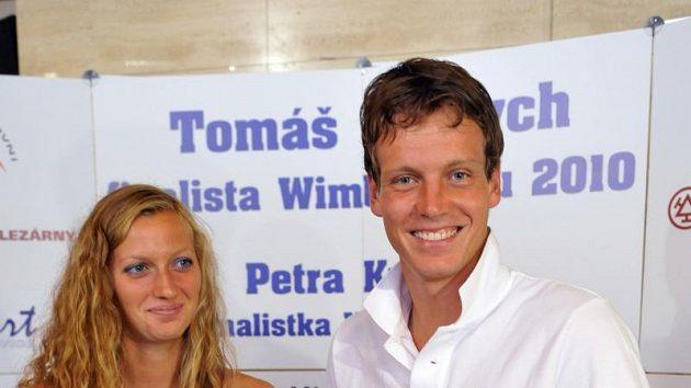 Tenisté Tomáš Berdych a Petra Kvitová na pondělní tiskové konferenci v Praze po návratu z Wimbledonu.