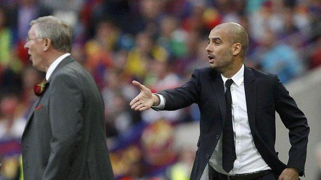 Trenéři Pep Guardiola (vpravo) a Alex Ferguson během finále Ligy mistrů.