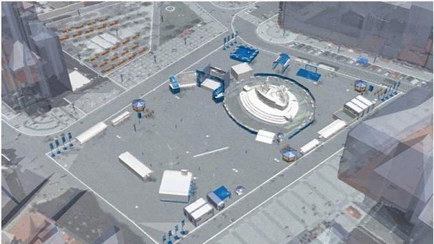 Pohled na Staroměstské náměstí, jehož plochu na pořádání přenosů z fotbalového MS vyčlenil Magistrát hlavního města Prahy.