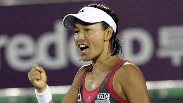 Kimiko Dateová-Krummová se raduje z postupu do finále turnaje v Soulu