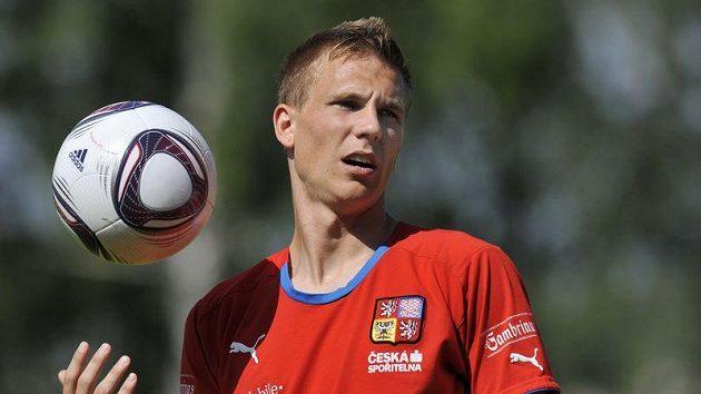 Záložník Bořek Dočkal na tréninku fotbalové reprezentace do 21 let.