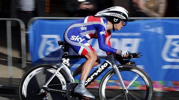 Britská cyklistka Emma Pooleyová na trati časovky.