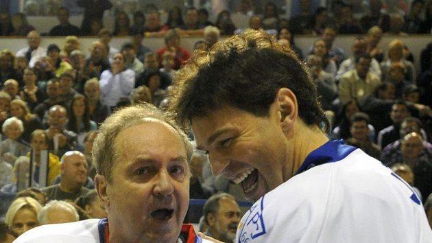 Hvězdy českého hokeje Milan Nový a Jaromír Jágr.