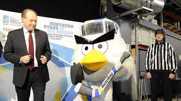 Maskot pro hokejové mistrovství světa, které se v roce 2012 uskuteční ve Švédsku a Finsku.