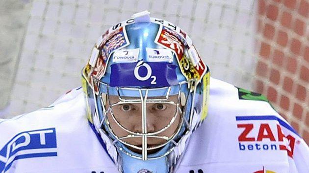 Soustředěný brankář Liberce Marek Pinc při třetím utkání čtvrtfinále play-off s Plzní.