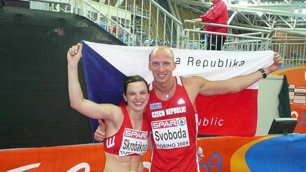 Čeští medailisté na halovém mistrovství Evropy Lucie Škrobáková a Petr Svoboda