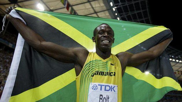 Jamajský sprinter Usain Bolt oslavuje titul mistra světa.