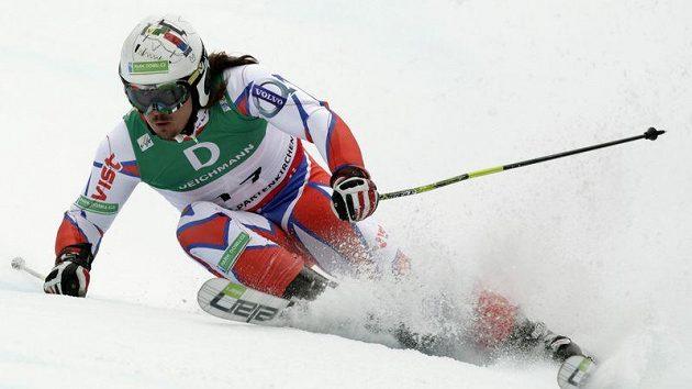 Ondřej Bank při 1. kole obřího slalomu na MS v Garmisch-Partenkirchenu.
