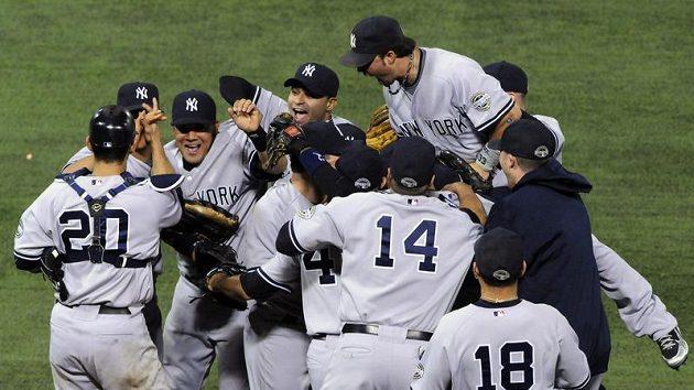 Radost baseballistů New Yorku Yankees
