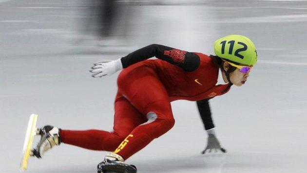 Čínská rychlobruslařka Wang Meng na olympijském oválu