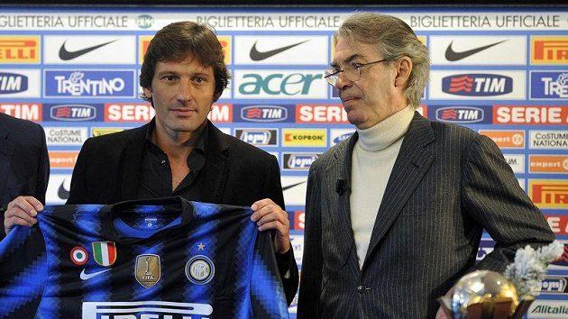 Leonardo s dresem Interu a prezidentem klubu Massimem Morattim.