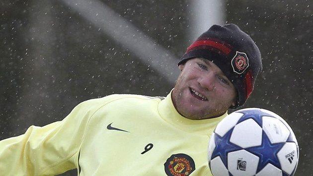 Wayne Rooney při tréninku v klubovém komplexu v Manchesteru.