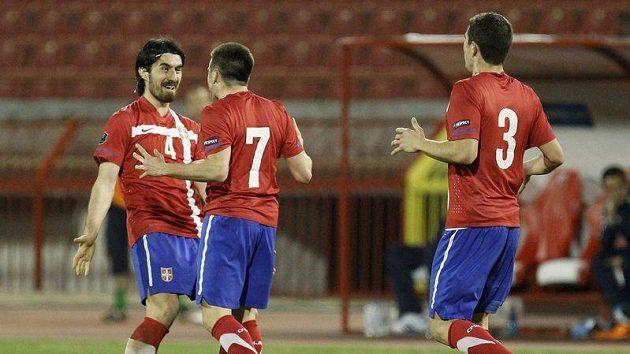 Srbský fotbalista Zoran Tošič se raduje z gólu do sítě Severního Irska.