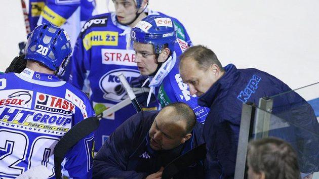 Trenérské due brněnské Komety Ladislav Lubina (dole) a Vladimír Jeřábek (vpravo)
