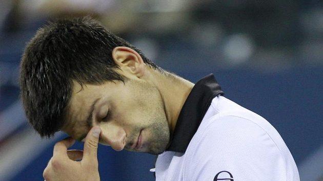 Srbský tenista Novak Djokovič během finále US Open proti Rafaelu Nadalovi.