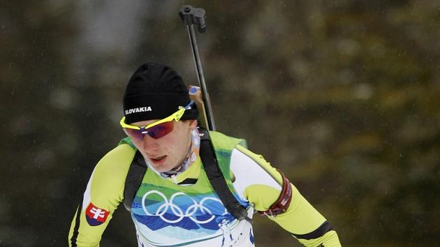 Slovenská biatlonistka Anastasija Kuzminová během olympijského závodu