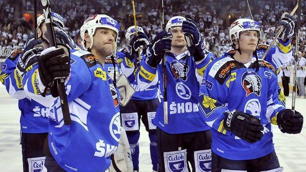 Martin Straka (vlevo) a jeho spoluhráči z Plzně