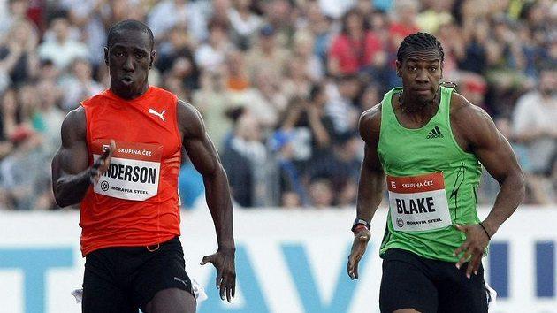 Jamajští dvoustovkaři Anderson a Blake na předloňské Zlaté tretře v Ostravě