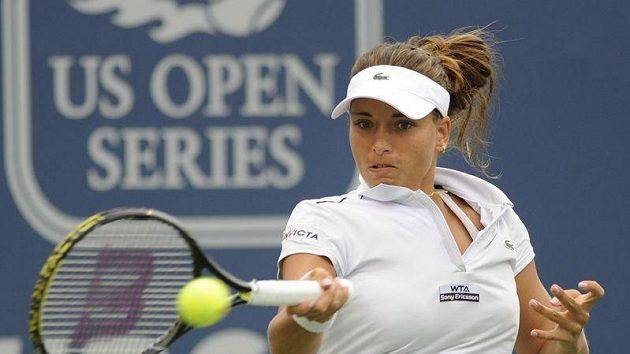 Petra Cetkovská během finále turnaje v New Havenu.
