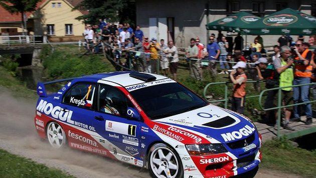 Roman Kresta na trati Horácké rallye.