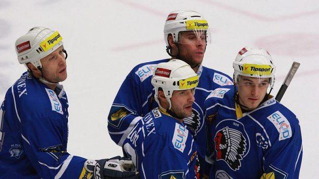 Jan Kovář (vpravo) se spoluhráči z Plzně Dudou, Strakou, a Modrým