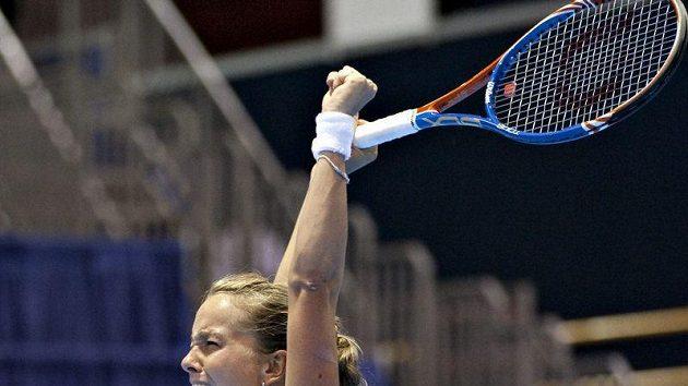 Barbora Záhlavová-Strýcová se raduje z vítězství ve finále v Québeku.