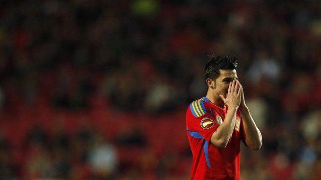 Zklamaný útočník Španělska David Villa