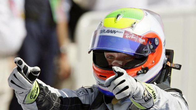 Rubens Barrichello se raduje z vítězství ve Velké ceně Evropy