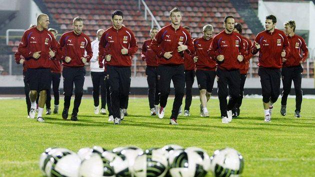 Fotbalová reprezentace na tréninku před zápasem v Dánsku.