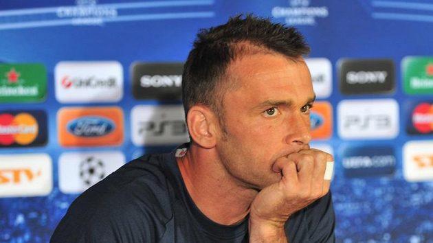 Jaroslav Blažek, brankář fotbalové Sparty, na tiskové konferenci před utkáním v Žilině.
