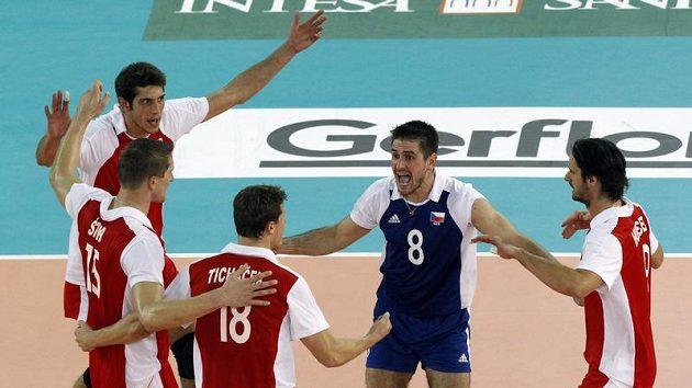 Čeští volejbalisté na mistrovství světa v Itálii.