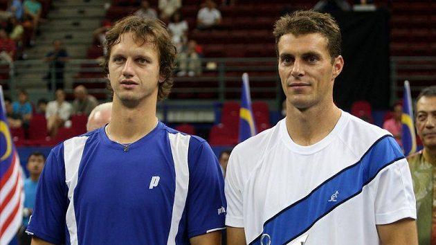 František Čermák (vpravo) a Filip Polášek na turnaji v Kuala Lumpuru.