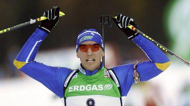Radost švédského biatlonisty Björna Ferryho