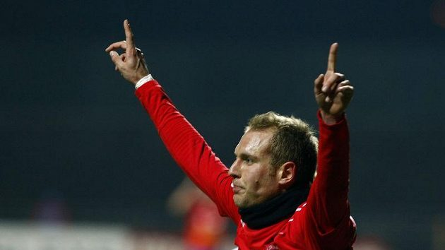 Daniel Kolář po vystřídání dotáhl Plzeň k výhře. Takhle se radoval z gólu na 2:0.