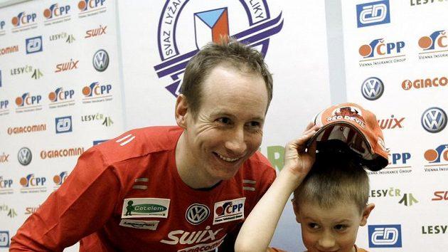Lukáš Bauer se synem Matyášem