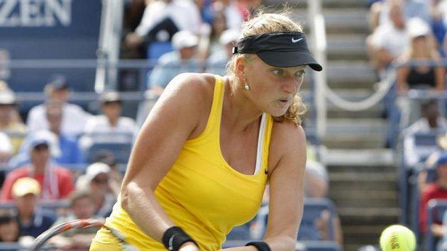 Česká tenistka Petra Kvitová během osmifinálového zápasu US Open proti Yanině Wickmayerové z Belgie